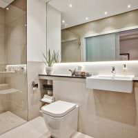 Зеркало во всю стену в ванной городской квартиры