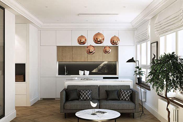Линейный гарнитур в кухне-гостиной современного стиля
