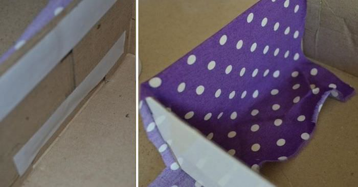 Оклейка картонной коробки тканью своими руками
