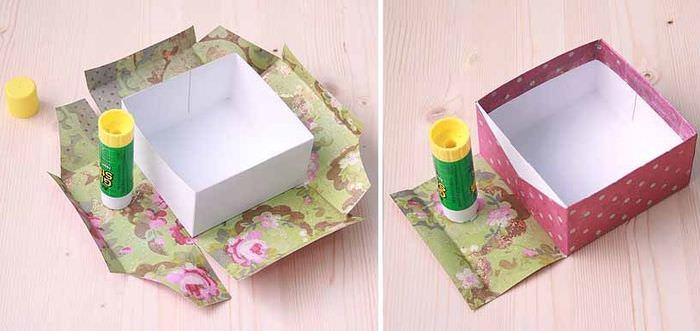 Оклейка картонной коробки подарочной бумагой