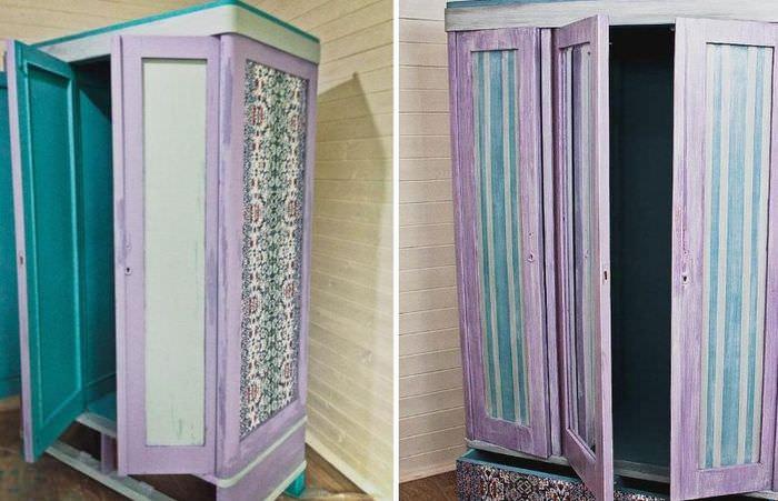 Реставрация старого бабушкина шкафа в смешанной технике