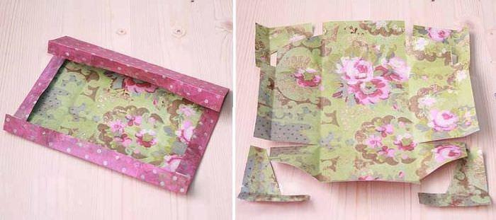Вырезание заготовки из бумаги для декора коробки