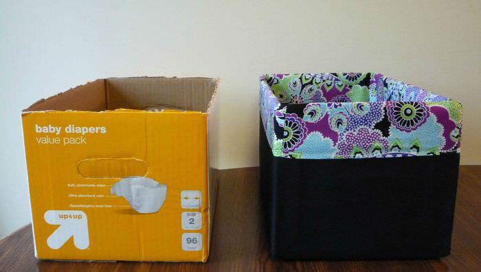 Картонная коробка до и после украшения своими руками