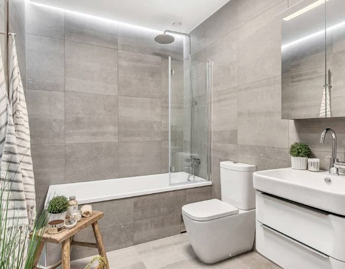 Дизайн современной ванной комнаты в серых тонах