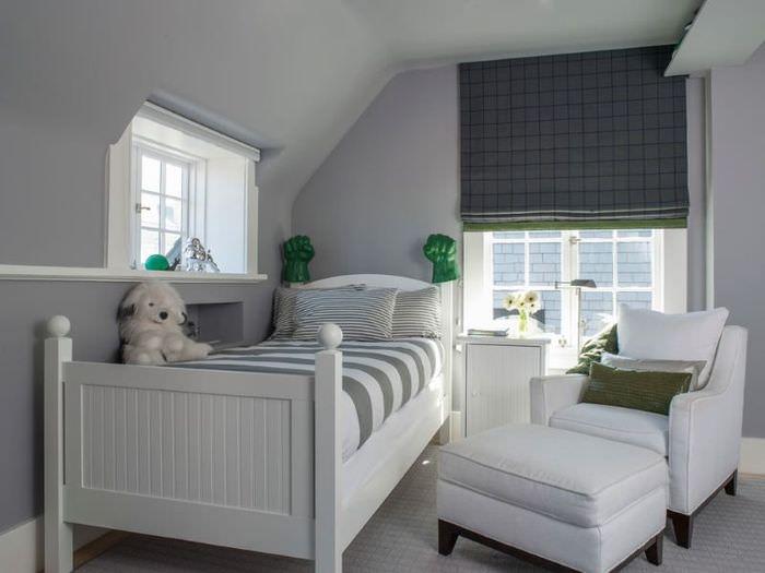 Дизайн детской комнаты с серыми шторами
