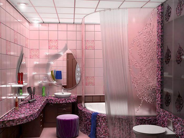 Оформление ванной комнаты в сиреневых оттенках