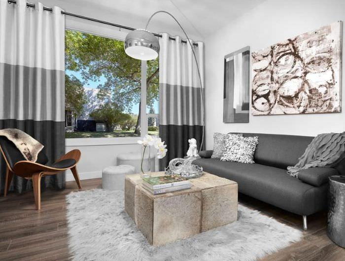 Дизайн современной гостиной с занавесками серого оттенка