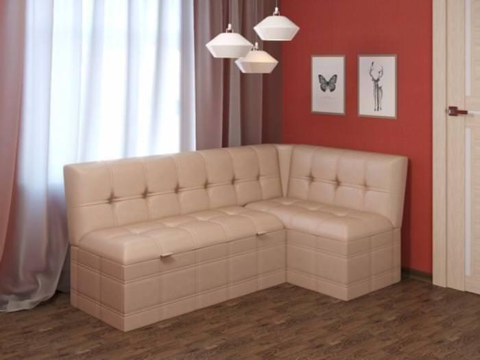 Угловой диван в дизайне кухни.