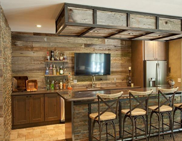 Для зонирования пространства располагается в центре кухни и делит ее на обеденную и рабочую зону