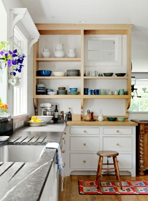 Виды кухонных открытых полок.