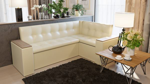 Г- образный диван на кухне