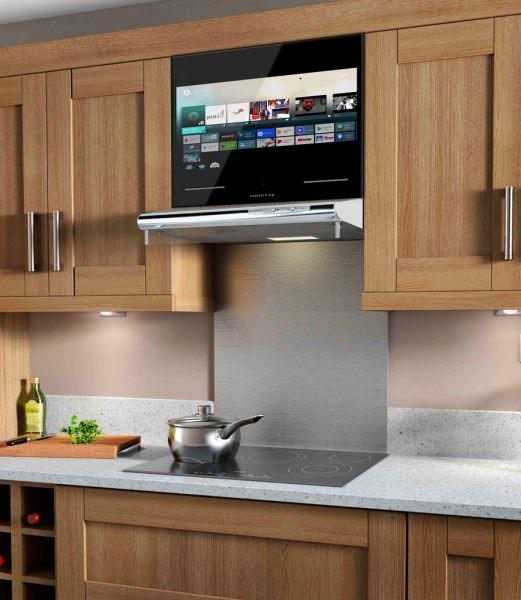расположение телевизора в кухонном интерьере