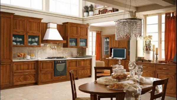 Шкафы на кухне цвета темного ореха