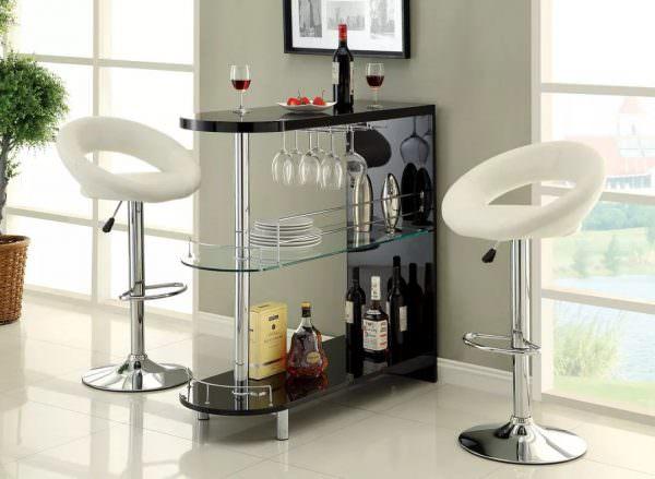 Если у вас не хватает место для большой барной стойки, установите мини-барную стойку