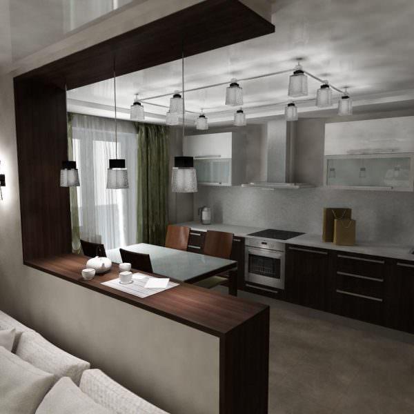 Трековые светильники на кухне с барной стойкой