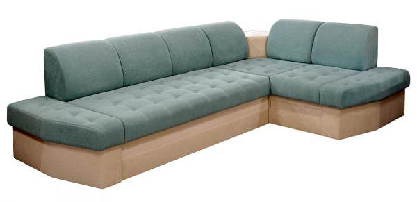 Велюровый угловой диван для кухни