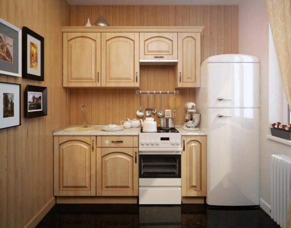 Линейная расстановка гарнитура (прямая или однорядная) хорошо вписывается в хрущевскую кухню.