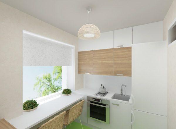 Светлая маленькая кухня выглядит больше и смотрится уютнее