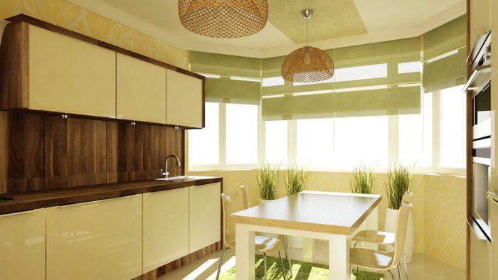 Кухня с эркером.