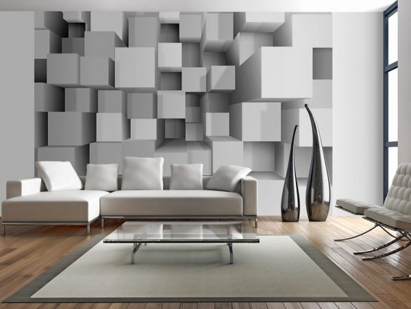 Для зала лучше выбирать варианты с геометрическими объемными фигурами, составляющими сложные композиции.