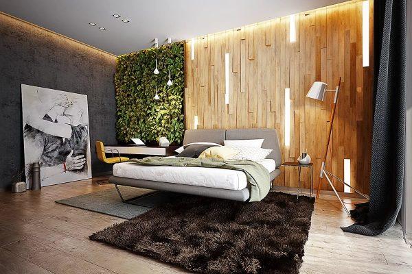 Спальня в экостиле смотрится дорого и поражает красотой
