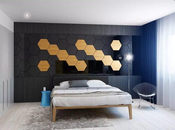 Динамичности в помещении можно добавить при помощи геометрии на стенах — соты, волны, зигзаги, квадраты.