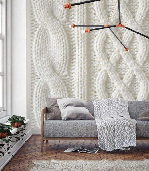 Совсем недавно в моду вошел скандинавский стиль, а вместе с ним и «вязаные» полотна.
