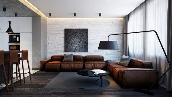 Стены можно оформить обоями, изображающими кирпичные блоки, дерево, штукатурку.