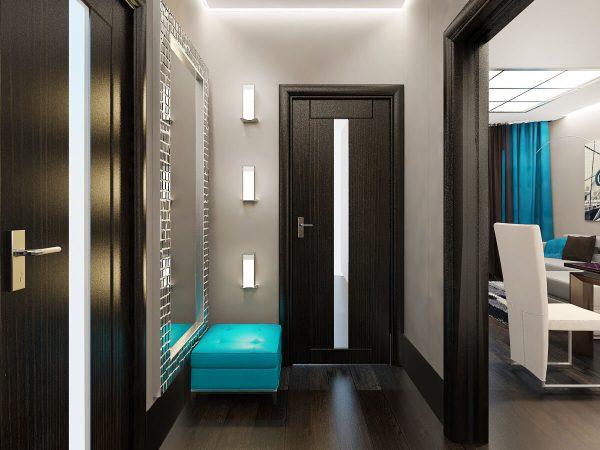 Обязательный атрибут коридора – лавка, диванчик, пуф для того, чтобы можно было удобно обуть и снять обувь.