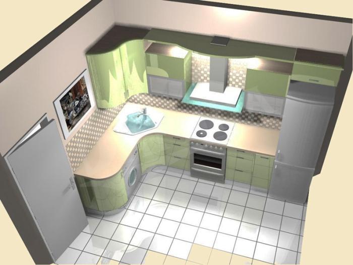 кухни со стиральной машиной и холодильником.