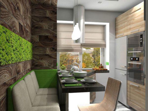 Дизайн маленькой кухни в экостиле