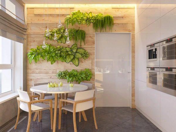 Хорошим вариантом считается использование натуральной древесины, такая отделка может благотворно сказываться на творении кулинарных шедевров.