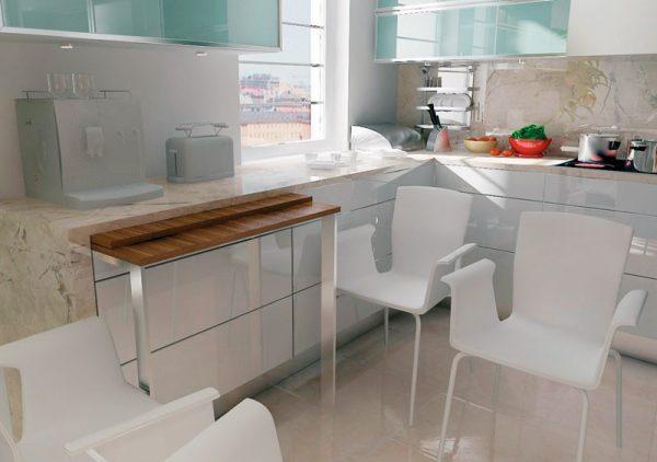 Для маленькой кухни лучшая альтернатива полноценного стола - выдвижная дополнительная столешница, которая убирается в гарнитур после использования