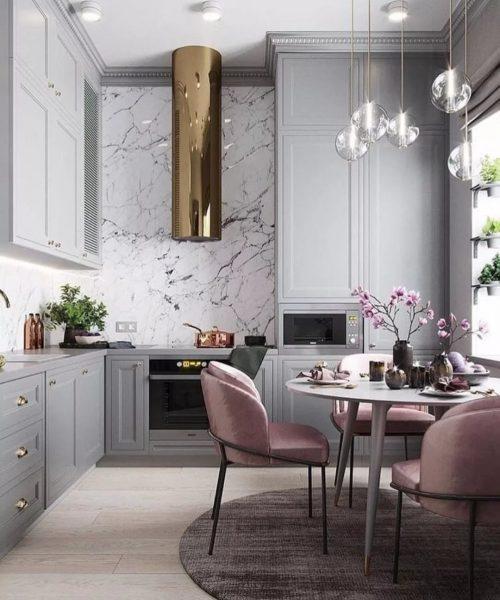 Маленькая кухня в сером цвете смотрится очень стильно