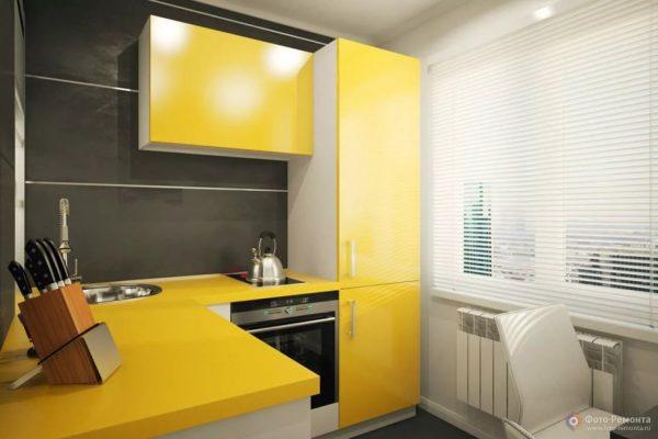 Желтая кухня поднимет настроение даже в дождливый день