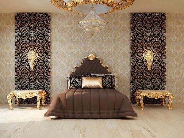 Текстильные обои являются самым дорогостоящим вариантом для спальни дизайна 2019 года.