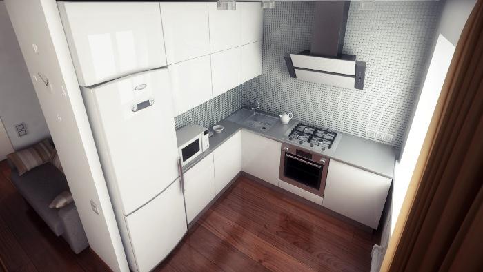 Холодильник под цвет гарнитура.