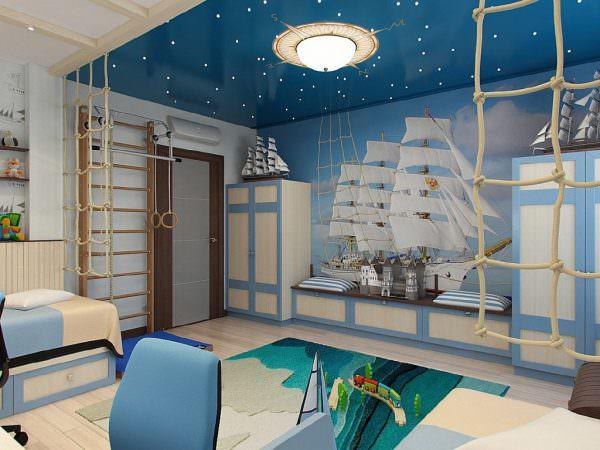 Новаторская идея 2019 года – окрашивание стен комнаты в темно-синий цвет.