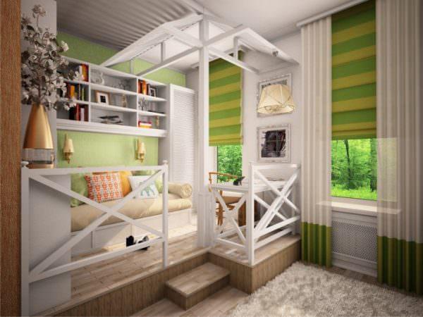 Зонирование комнаты по вертикали аналогично горизонтальному, но комната делится как будто на несколько ярусов.