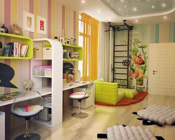 Чтобы обеспечить максимальный комфорт во время игр, отдыха, интеллектуальной деятельности, комнату делят на части.