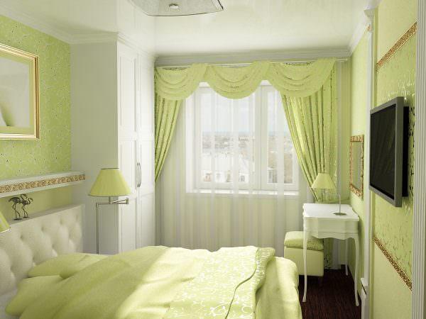 Оттенки зеленого цвета дают разрядку нервной системе и органам зрения. В комнате сохраняется ощущение свежести, ведь цвет очень легок к восприятию.
