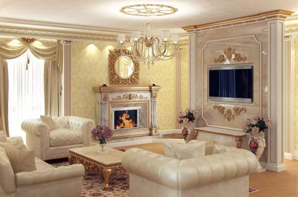 Отлично впишется в интерьер классической гостиной камин.