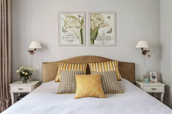 Картины. Полотно над изголовьем кровати позволят сделать акцент на центральной части пространства.