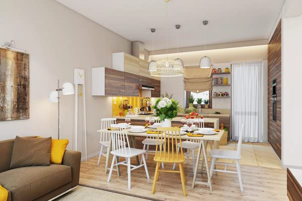Красивая кухня в скандинавском стиле получится из объединенной планировки.
