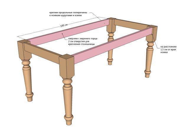 Отдельно изготавливают обеденный стол и стулья.