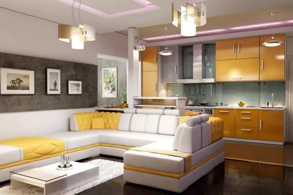 Совмещение кухни и гостиной – популярный дизайнерский прием, который позволяет добиться увеличения пространства за счет сноса стены между двумя комнатами, и создать модный интерьер-студию.