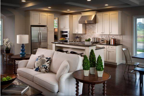 Среди идей зонирования кухни и гостиной выделяются оригинальные способы с помощью декора и аксессуаров.