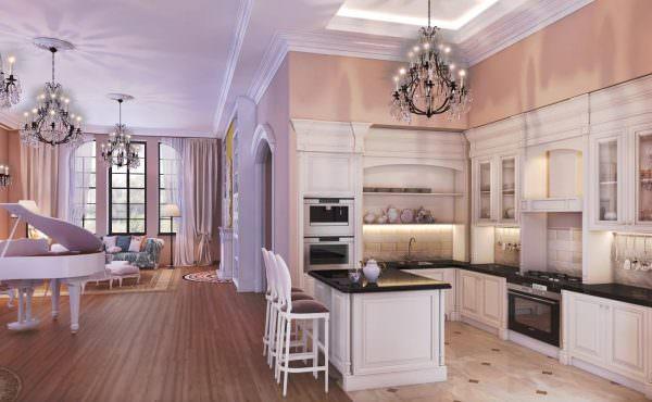 Чтобы дополнительно зонировать помещение визуально, рекомендуется выбирать разное напольное покрытие для кухни и гостиной.