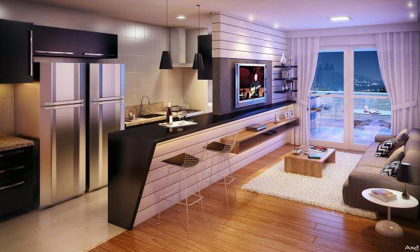Потолок является общим для двух комнат, а потому он должен быть оформлен в одинаковой стилистике.