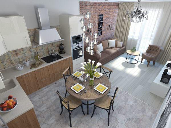 Кухня в стиле лофт может стать логическим продолжением гостиной, ведь эта стилистика отлично подходит каждому из этих помещений.